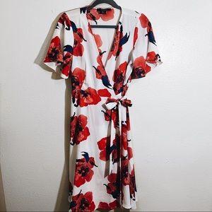 [Forever 21] Floral Wrap Midi Dress Size L